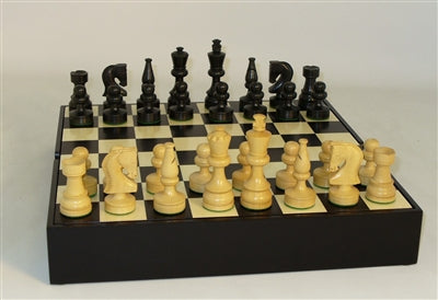 Chess Set-Black Russian Men-Black Maple Veneer Chest