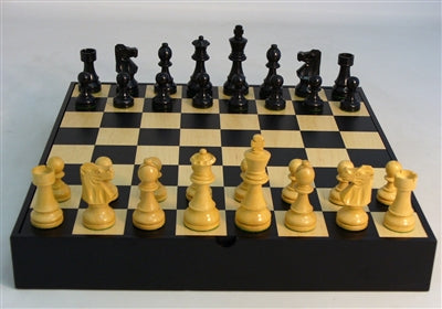 Chess Set-Black-French Men-Black-Maple Chest