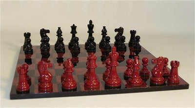 Chess Set-Black-Red-Boxwood-Glossy Men-Burlwood-Glossy Veneer Board