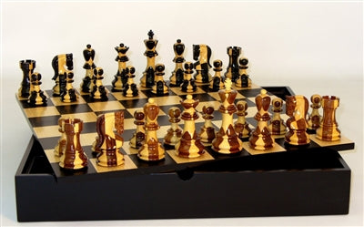 Chess Set-Inlaid Russian Men-Black Maple Chest