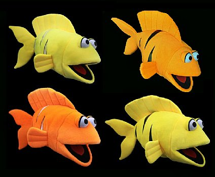 Blacklight Puppets-Glow in the Dark-Fish-Set of 4-Sea Life