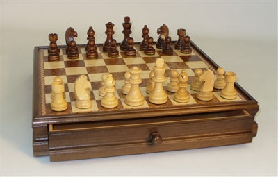 Chess Set-Wood Inlaid-Chest-Chessmen