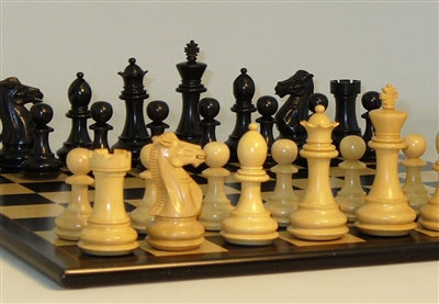 Chess Set-Black-Natural-Boxwood Men-Black-Birdseye-Maple Board
