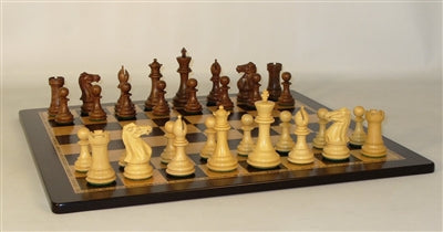 Chess Set-Staunton-Sheesham-Boxwood Men-Ebony Birdseye Maple Board