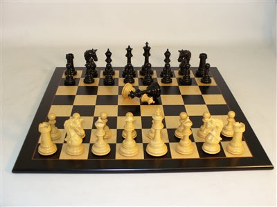 Chess Set-Ebony Parthenon Chessmen-Black Birdseye-Maple Chessboard
