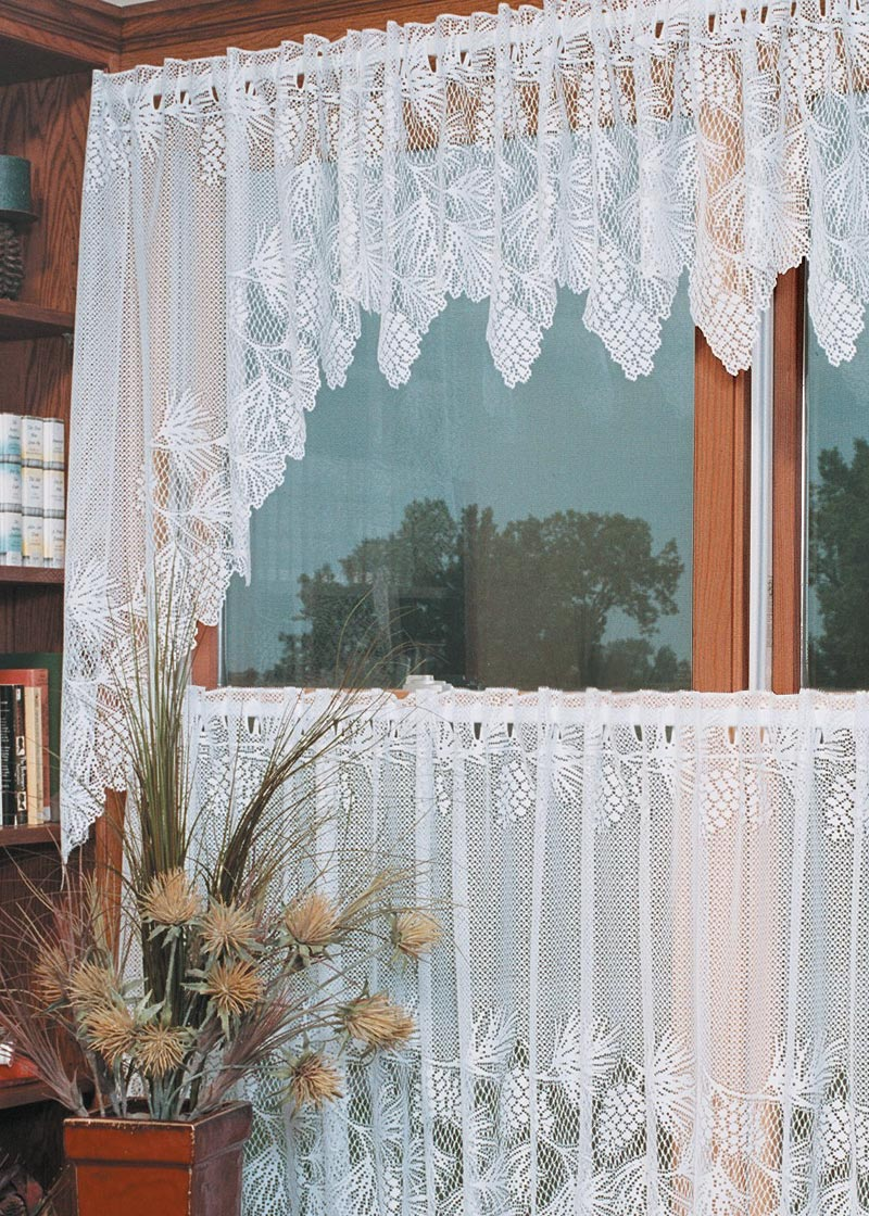 Curtain Swags-White-68x40-Heritage Lace-Woodland
