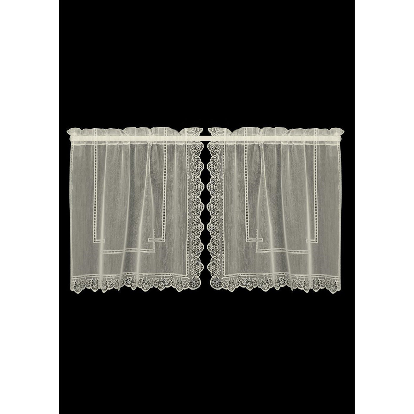 Set of 2 Pairs Prelude Split Tiers in Ecru from Heritage Lace - Seasonal Expressions - 1