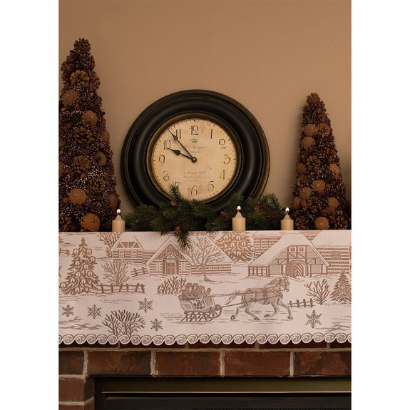 Table Linen-Mantle Scarf-4 Way-Sleigh Ride-Heritage Lace