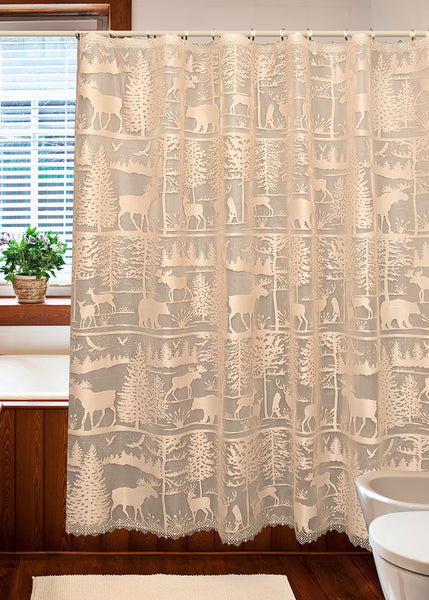 Shower Curtain-Lodge Hollow-Heritage Lace-The Rustic Look