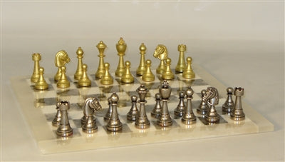 Chess Set-Staunton Metal Men-Grey-White Alabaster Chessboard