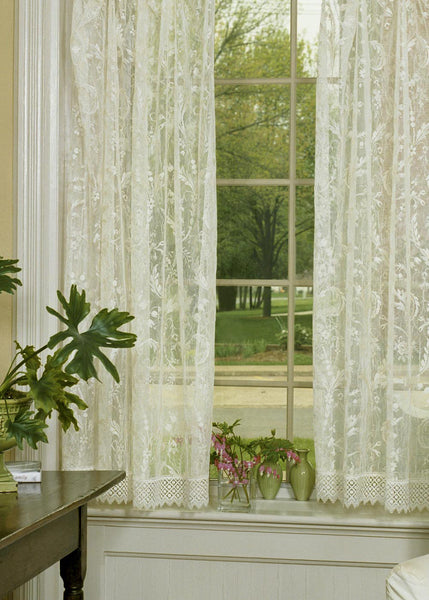 Curtain Panel-Heritage Lace-Choice-Original-Macrame Trim-Rings-Coventry
