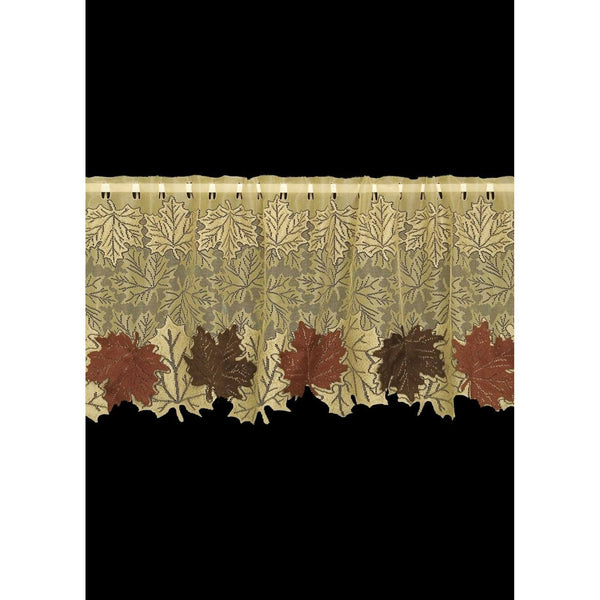 "Set of 2 Leaf 4-Way 60 x 21"" Goldenrod Window Topper from Heritage Lace - Seasonal Expressions"