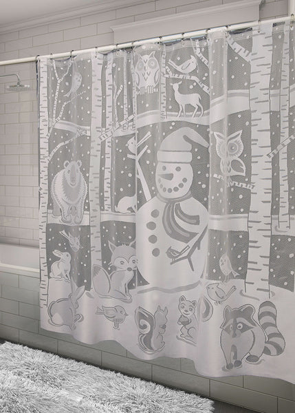 Shower Curtain-Heritage Lace-Seasonal-Snowman