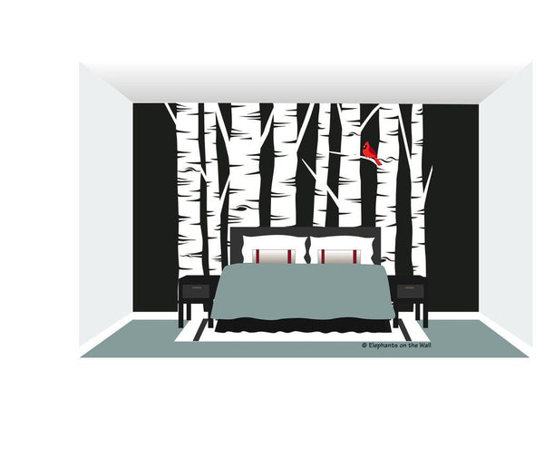 Birch Tree Forest DIY Paint by Number Wall Mural by Elephants on the Wall - Seasonal Expressions - 1