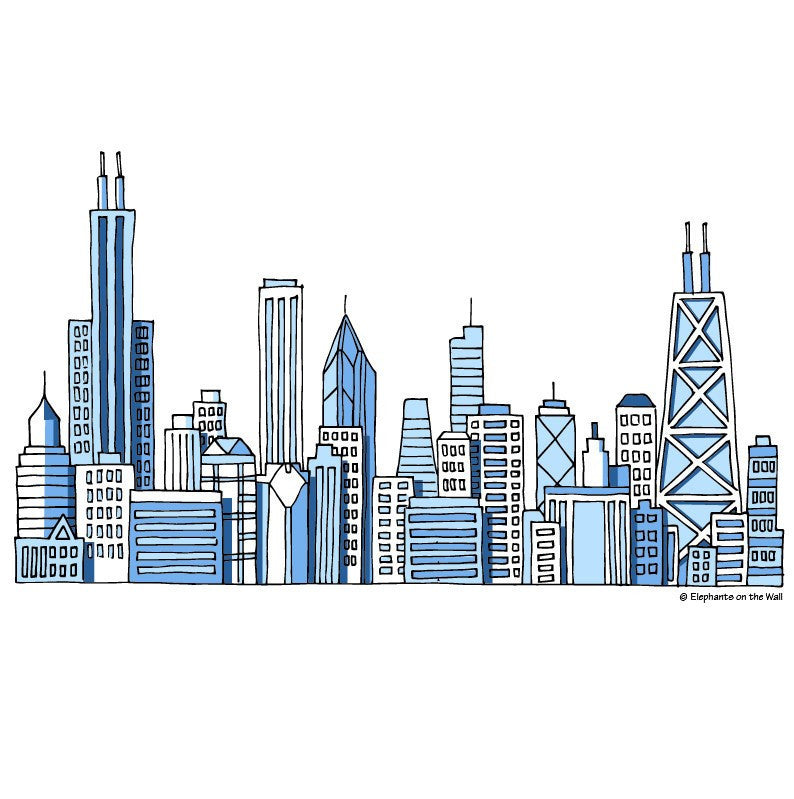 Chicago Skyline, a DIY Paint by Number Wall Mural by Elephant on the Wall - Expressions of Home