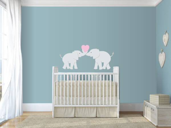 Wall Mural-DIY-Paint by Number-Elephants on the Wall-Elephant Love