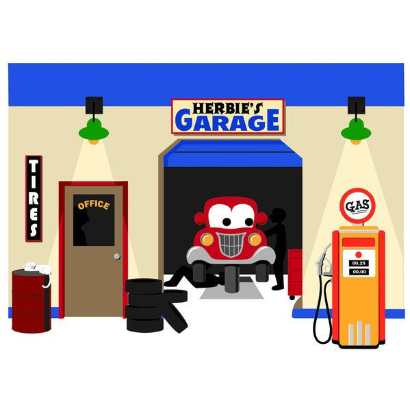 Herbie's Garage, a DIY Paint by Number Wall Mural by Elephants on the Wall - Expressions of Home