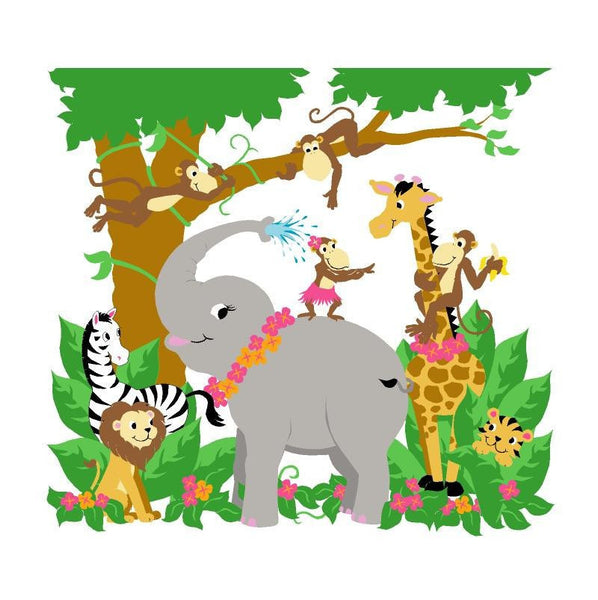 Jungle Hula Party, a DIY Paint by Number Wall Mural by Elephants on the Wall - Seasonal Expressions - 1
