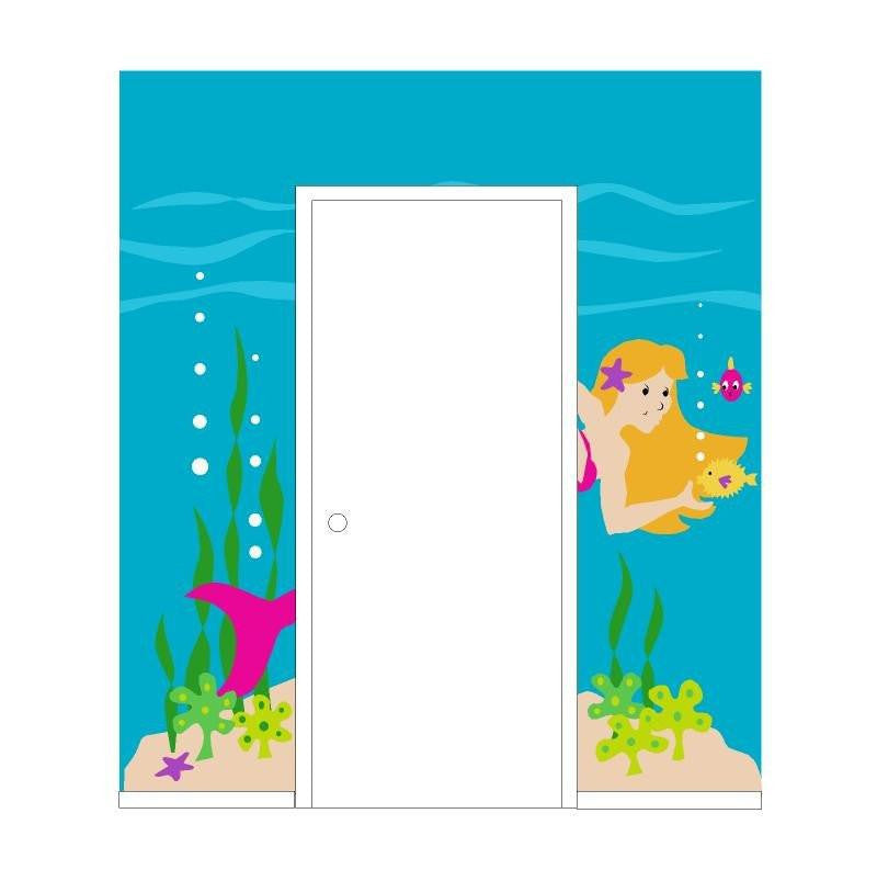 Mermaid Doorhugger DIY Paint by Number Wall Murals by Elephants on the Wall - Seasonal Expressions