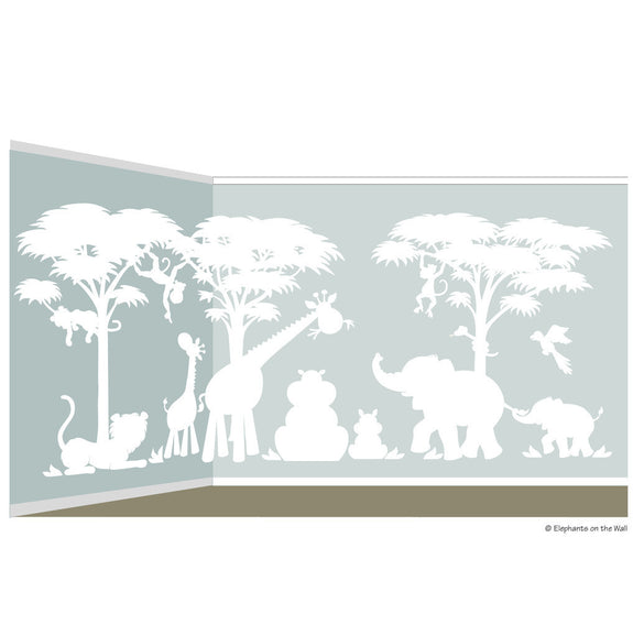 Silhouette Safari, a DIY Paint by Number Wall Mural by Elephants on the Wall - Seasonal Expressions - 3