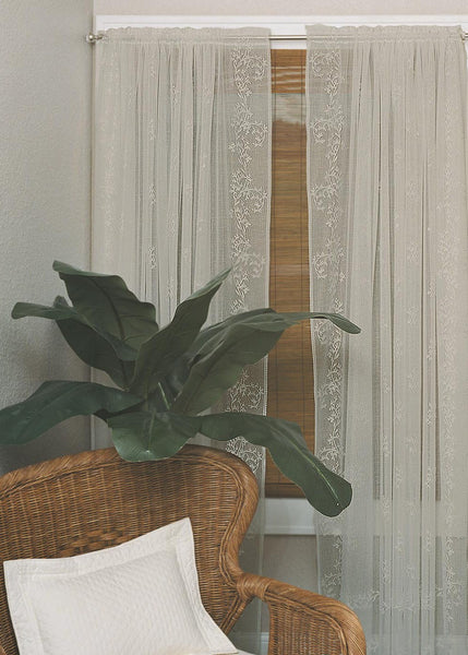 Sheer Divine,  Set of 2 Beautiful Window Panels from Heritage Lace in Flax - Seasonal Expressions - 3