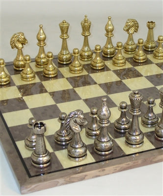 Chess Set-Large Metal Staunton Men-Glossy-Grey-Briar Veneer Board