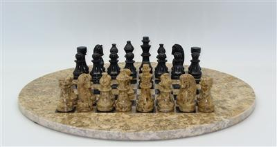 Chess Set-Black and Coral- Round Marble