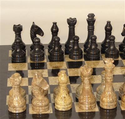 Chess Set-Black and Coral Marble