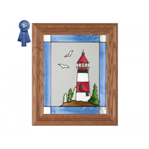 Art Glass Panel-Lighthouse-Nautical-Made in USAl