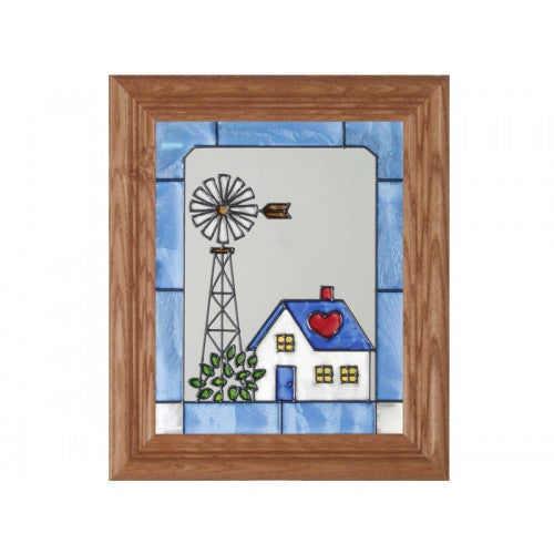 Art Glass Panel-Farm-Windmill-Country Life-Made in USA