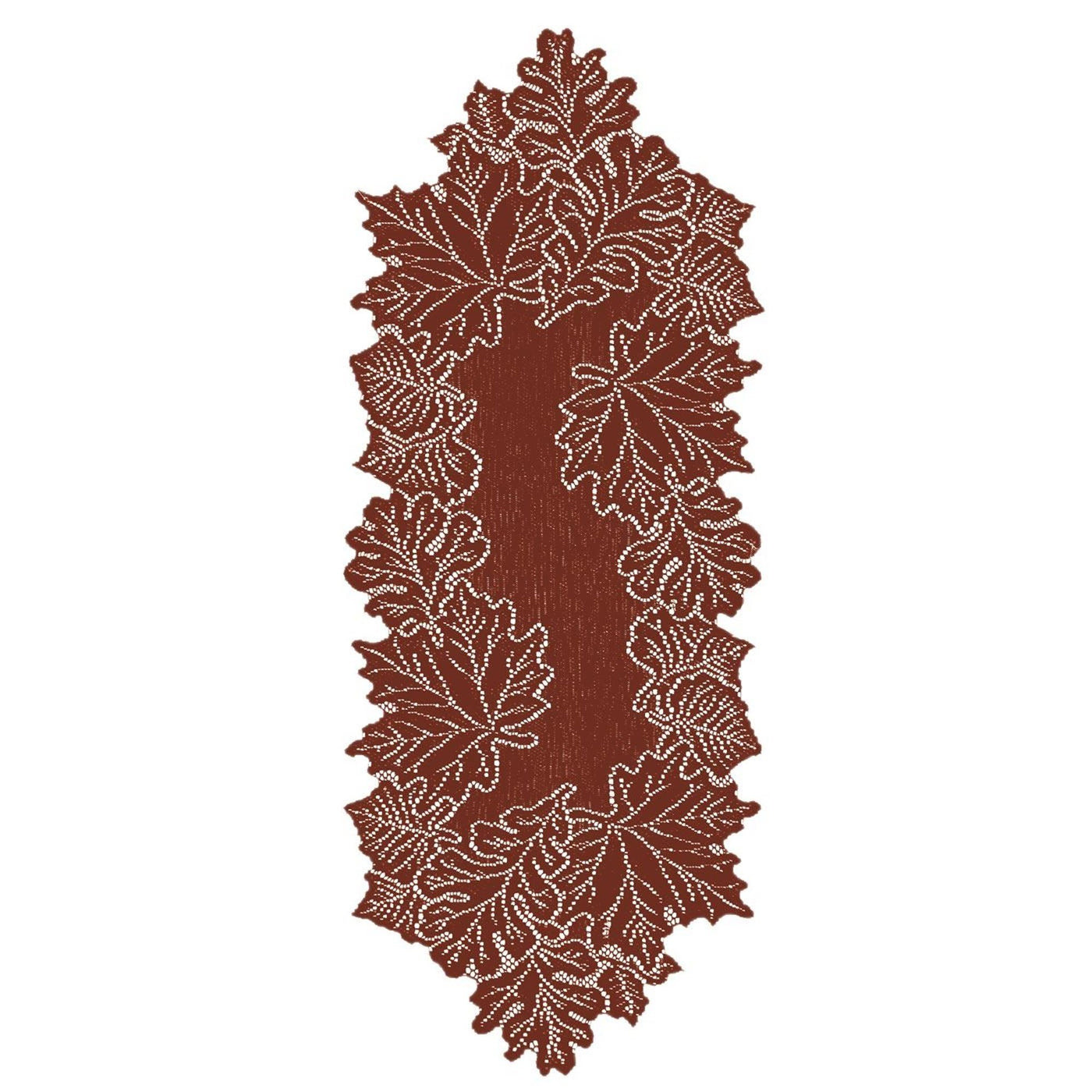 "Beautiful 14 x 36"" Leaf Table Runner in Dark Paprika or Goldenrod from Heritage Lace - Expressions of Home"