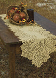 "Table Linen-Runner-Dresser Scarf-14 x 36""- Leaf- Dark Paprika-Goldenrod-Heritage Lace"