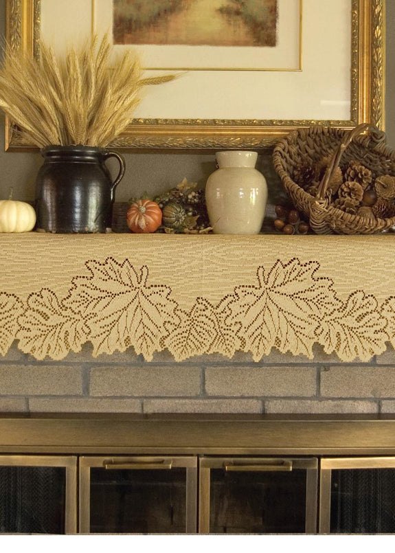 "Table Linen-Mantle Scarf-20""x60""-Leaf-Dark Paprika or Goldenrod-Heritage Lace"
