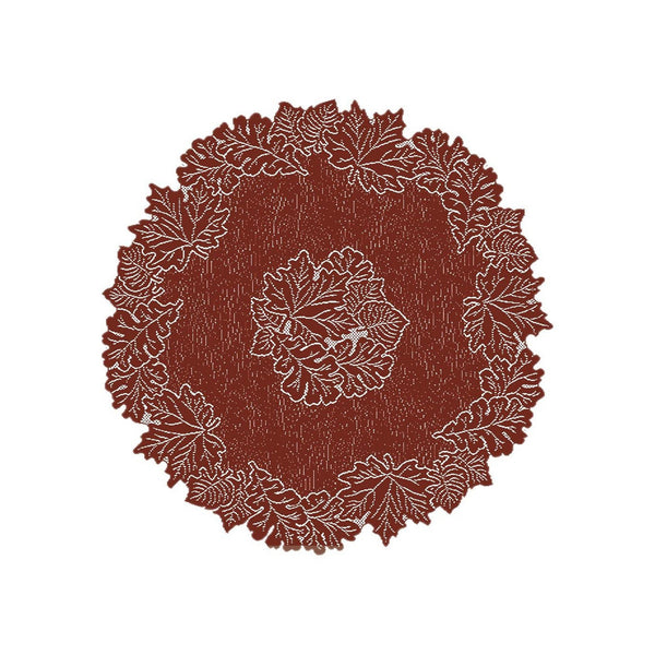 "Leaf, a 36"" Round Table Topper in Dark Paprika or Goldenrod from Heritage Lace - Seasonal Expressions - 1"