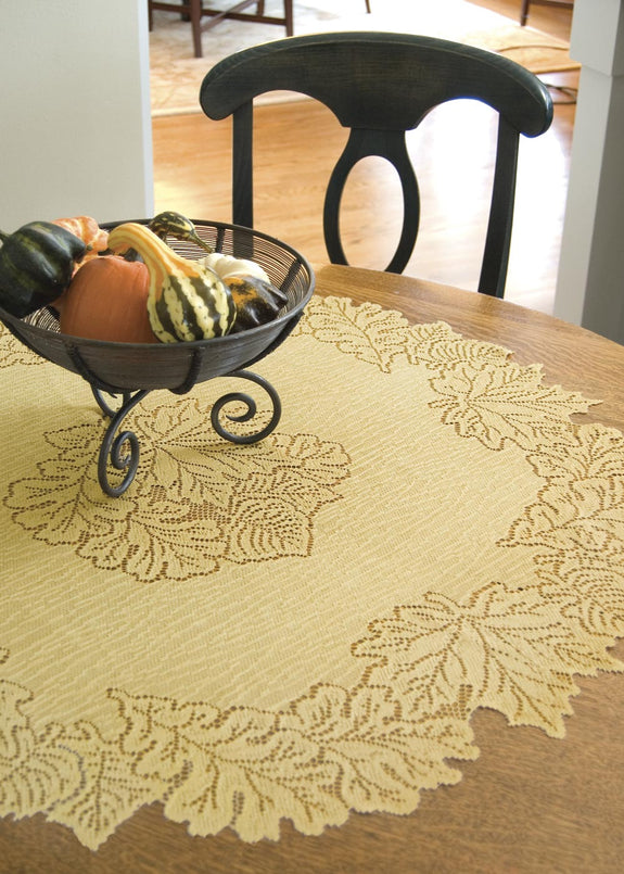 "Table Linen-Tablecloth-36"" Round-Table Topper-Leaf-Dark Paprika-Goldenrod-Heritage Lace"