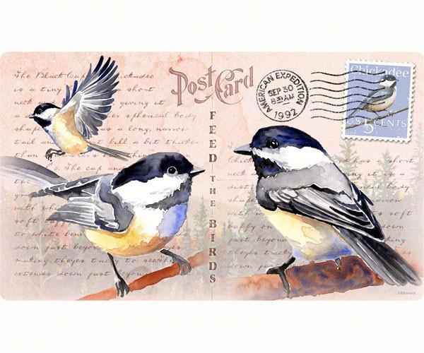 Chickadee Postcard-Tempered Glass-Cutting Board-Functionable and Beautiful