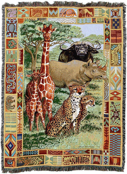 Throw Blanket-54 x 72-Woven Tapestry-Babies-Children-African Plains