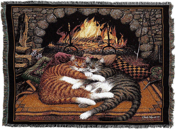 Throw Blanket-54 x 72-Matching-Throw Pillow-Animal Lover-All Burned Out-Cat