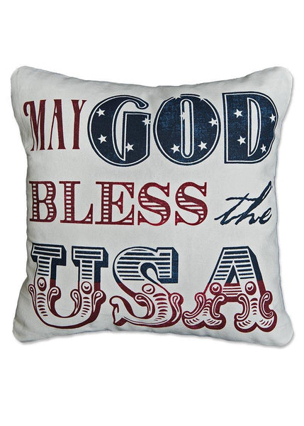 Throw Pillow-18 x 18-Americana-Heritage Lace-God Bless USA