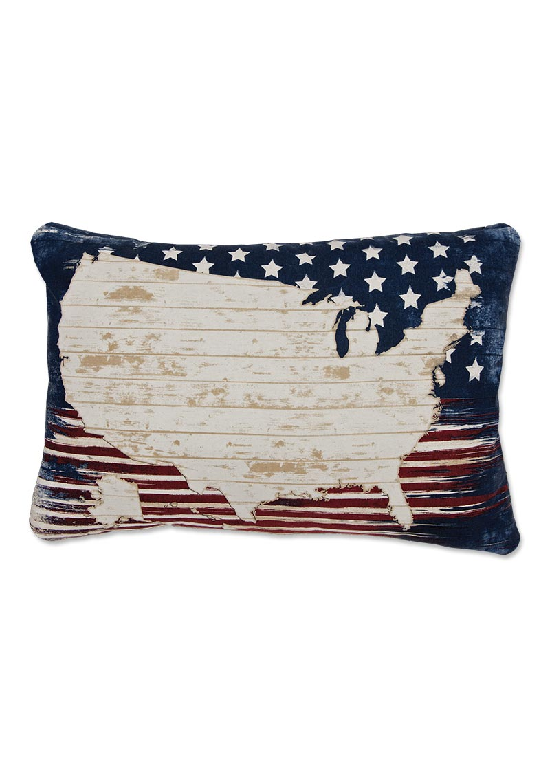 Throw Pillow-15 x 25-Americana-Heritage Lace-American Spirit-Map