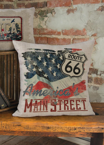 Throw Pillow-18 x 18-Americana-Heritage Lace-American Spirit-Route 66