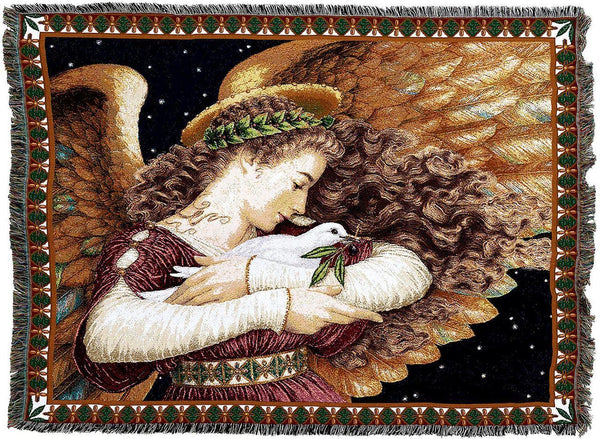 Throw Blanket-54 x 72-Christian-Angel With Dove