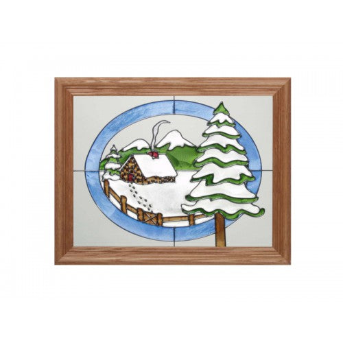 Art Glass Panel-Cabin in Winter-The Rustic Look-Made in USA