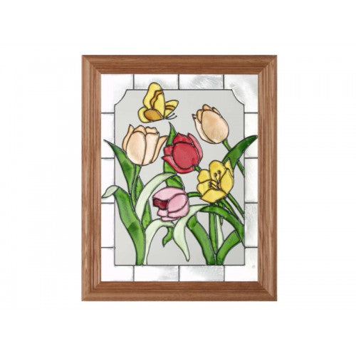 Art Glass Panel-Flowers-Tulips-Made in USA