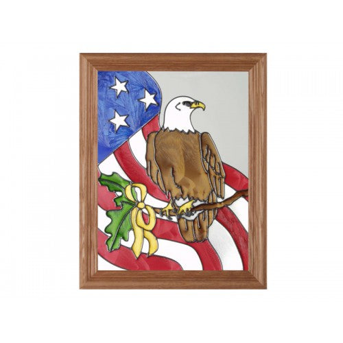 Art Glass Panel-Flag-Eagle-Patriotic-Americana-Made in USA