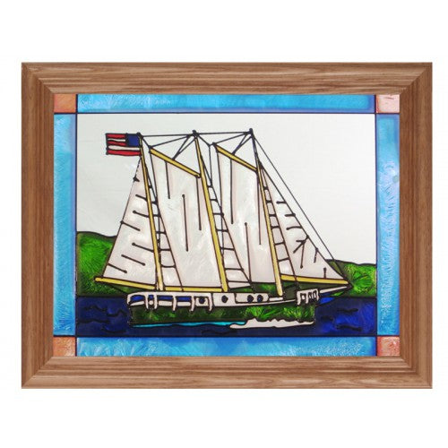 Art Glass Panel-Schooner-Nautical-Made in USA