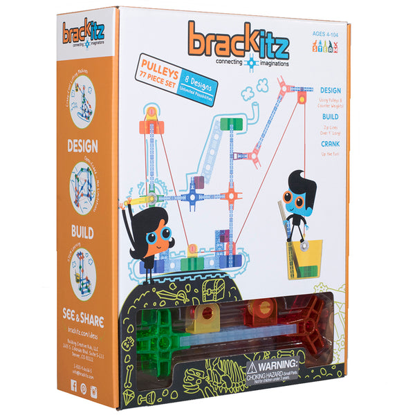 Design-Build-Pulley Set-77 Pieces-Brackitz