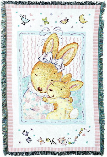 Throw Blanket-34 x 53-Woven Tapestry-Babies-Children-Baby Bunny Hugs