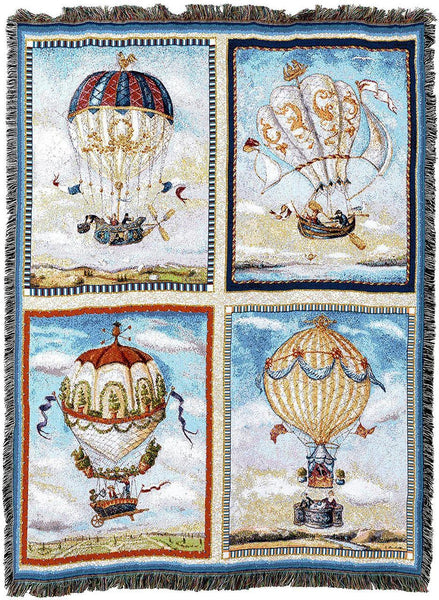 Throw Blanket-54 x 72-Woven-Babies-Children-Hot Air Balloons