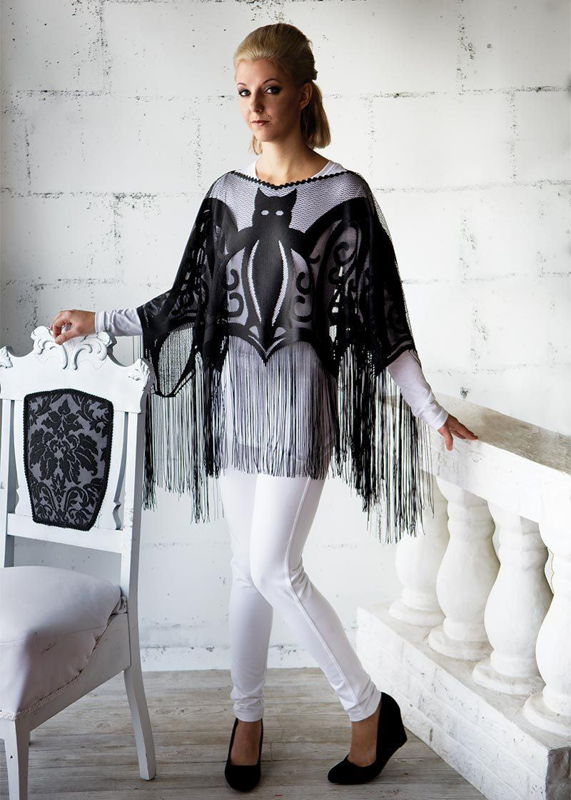 Halloween-Seasonal -Clothing-Poncho-Fringe-Bats
